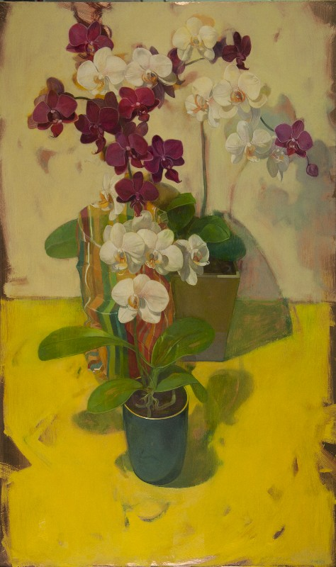 "Benjamin Shamback - ""Orchids on Yellow with Striped Bag"""
